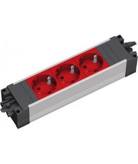 BACHMANN STEP BASE Regleta 3x schukos rojo, perfil plástico