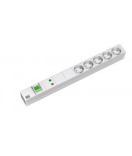 BACHMANN Regleta 19 1U con 5x schukos, cable 3G1,5mm 2m, con int. y prot. sobret. y filtro red y frec.
