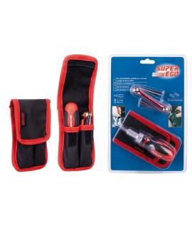 SUPER EGO Set destornillador multibocas a carraca + llaves Allen