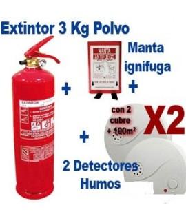 DirectExtintor Pack anti-incendios hogar 1 extintor + 2 detectores de humos + 1 manta ignífuga