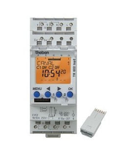 THEBEN Interruptores horarios digitales 2 modulos carril DIN TR 622 top2 24V 155
