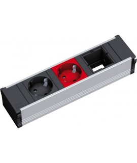 BACHMANN CONI Regleta 1x schuko negro + 1x schuko rojo + 1x espacio