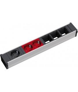 BACHMANN CONI Regleta 1x schuko negro + 2x schukos rojo + 3x espacios