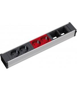 BACHMANN CONI Regleta 2x schukos negro + 2x schukos rojo + 2x espacios