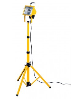BACHMANN Lampara halogena portatil con tripode, 500W, cable 3G1mm 2m, IP44