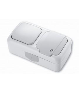 VIKO PALMIYE Interruptor horizontal 1P 10A 250V + toma de corriente 2P+T 16A 250V IP54 gris