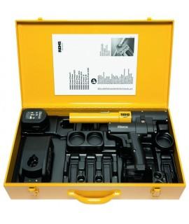 Caja metálica con forma para prensadora axial por acumulador y expandidor de tubos por acumulador