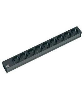 """BACHMANN Regleta 19"""" 1U con 9x schukos, cable 3G1,5mm 2m, negro."""