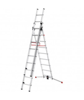 Escalera de Aluminio de tres tramos combinada Hailo 9 Peldaños
