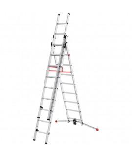 Escalera de Aluminio de tres tramos combinada Hailo 12 Peldaños