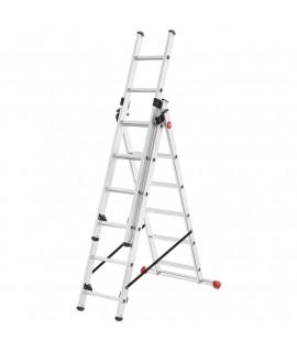 Escalera de Aluminio de tres tramos combinada con estabilizador Hailo 6 Peldaños