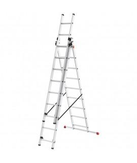 Escalera de Aluminio de tres tramos combinada con estabilizador Hailo 9 Peldaños