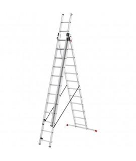Escalera de Aluminio de tres tramos combinada con estabilizador Hailo 12 Peldaños