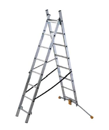 Escalera de 2 tramos 7 peldaños con estabilizador curvo HobbyLOT Hailo