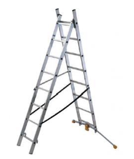 Escalera de 2 tramos 9 peldaños con estabilizador curvo HobbyLOT Hailo