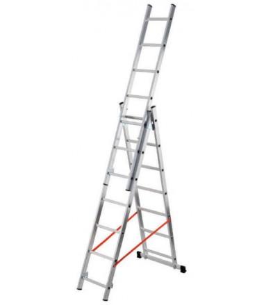Escalera de 3 tramos con estabilizador recto 9 peldaños Gierre